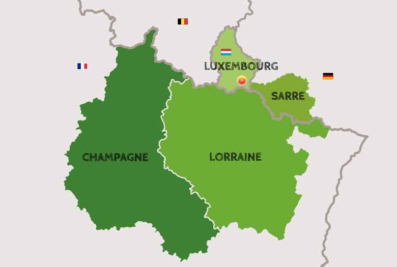 Carte de la Grande Région (Champagne,  Lorraine, Sarre, Luxembourg)