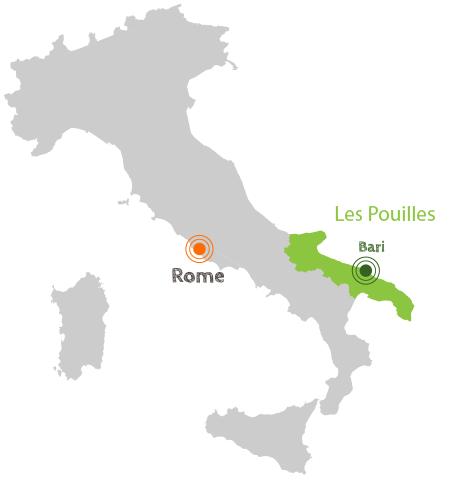 Carte d'Italie avec région des Pouilles